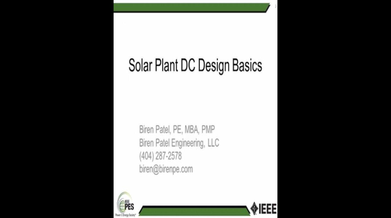 Solar Plant DC Design Basics