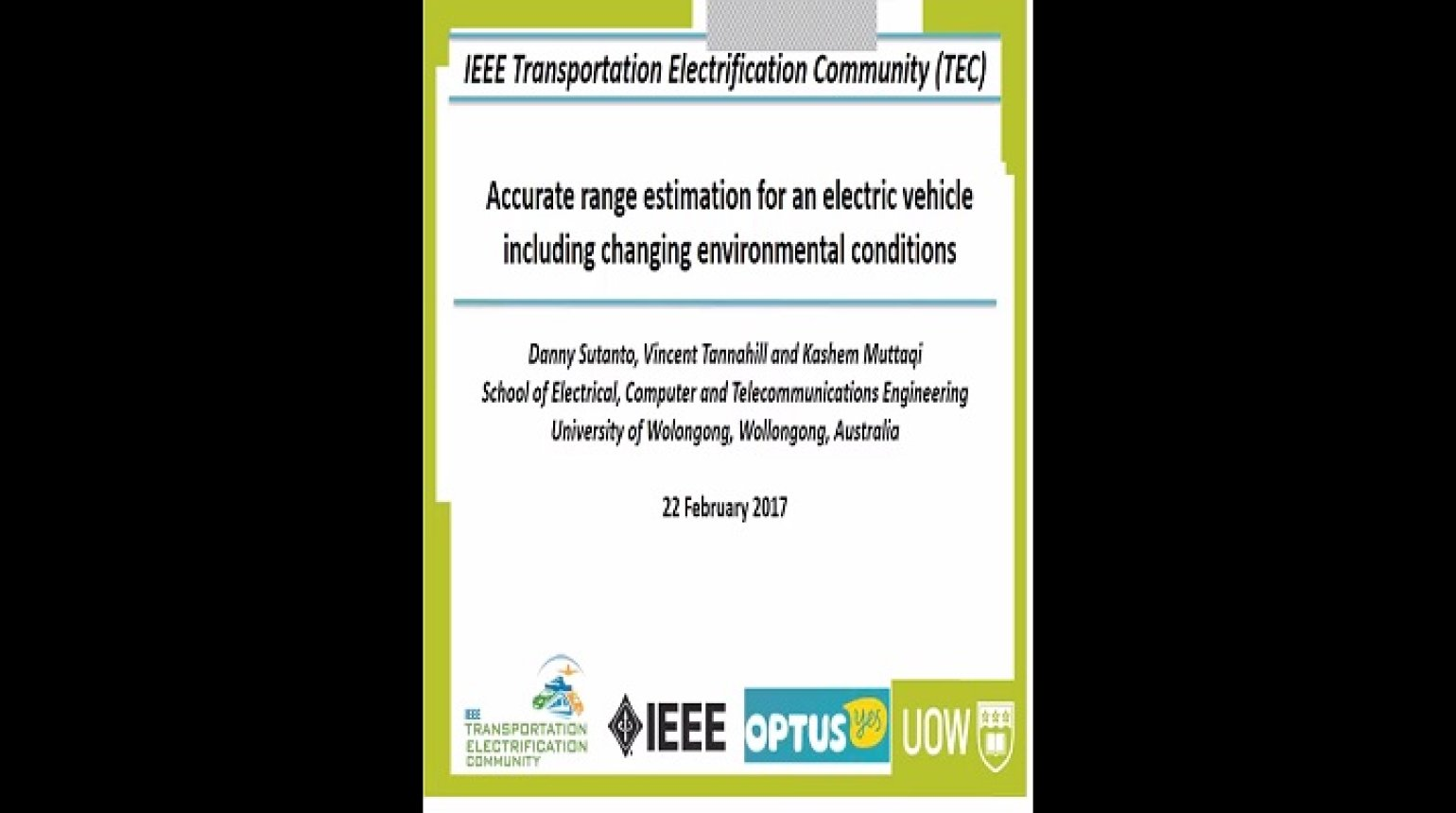 Video - Accurate range estimation for an electric vehicle including changing environmental conditions