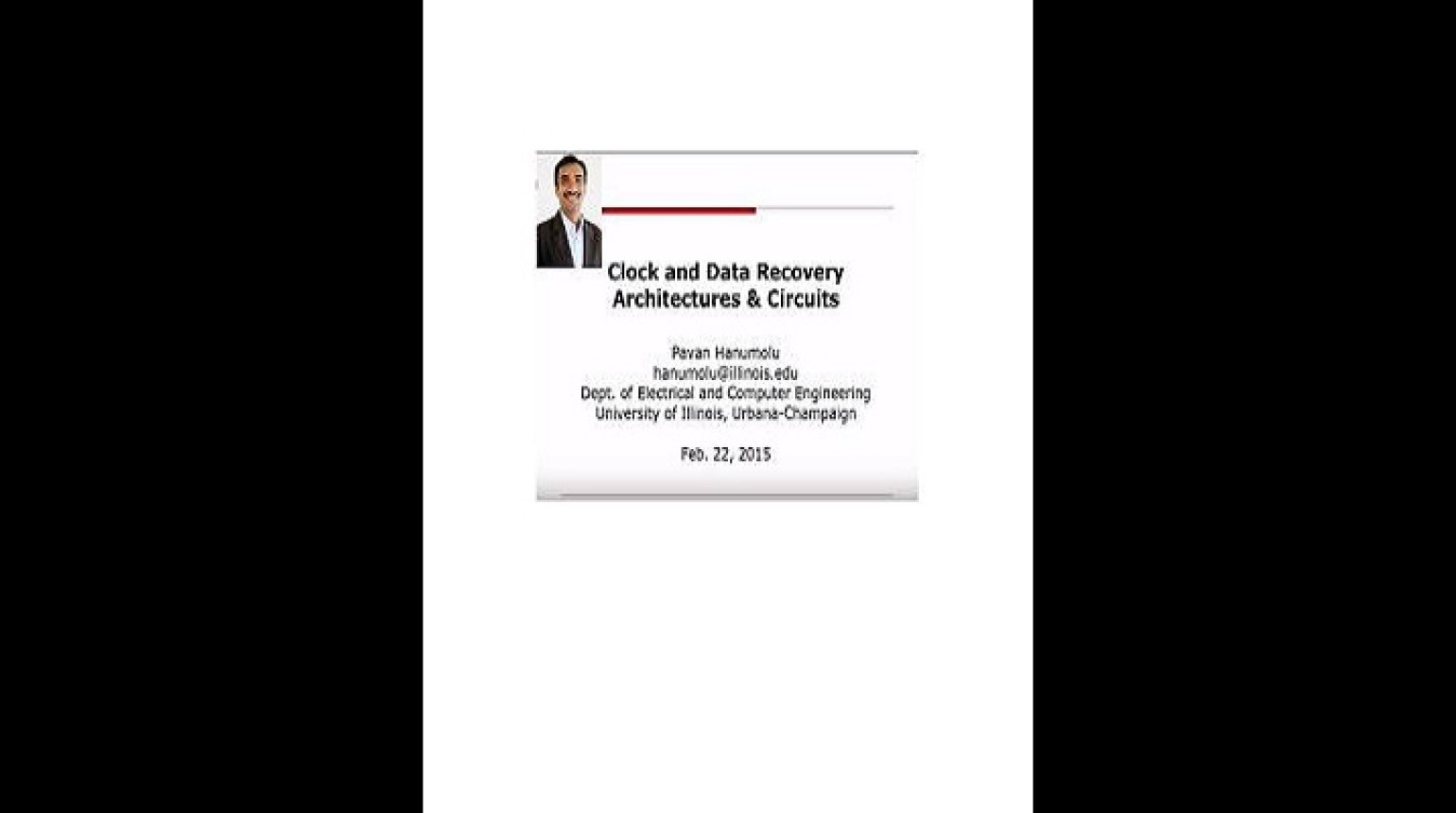 Clock and Data Recovery Architectures and Circuits Video