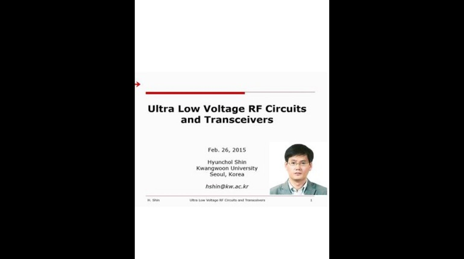 Ultra low Voltage RF Circuit and Transceivers Video