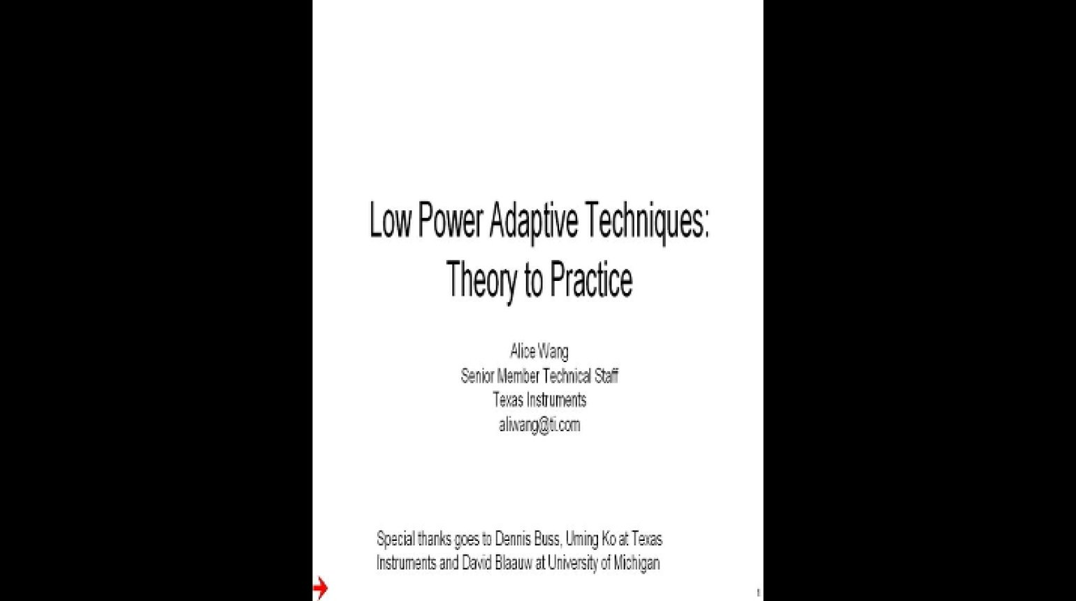 Adaptive Power Managemnt Techniques Video