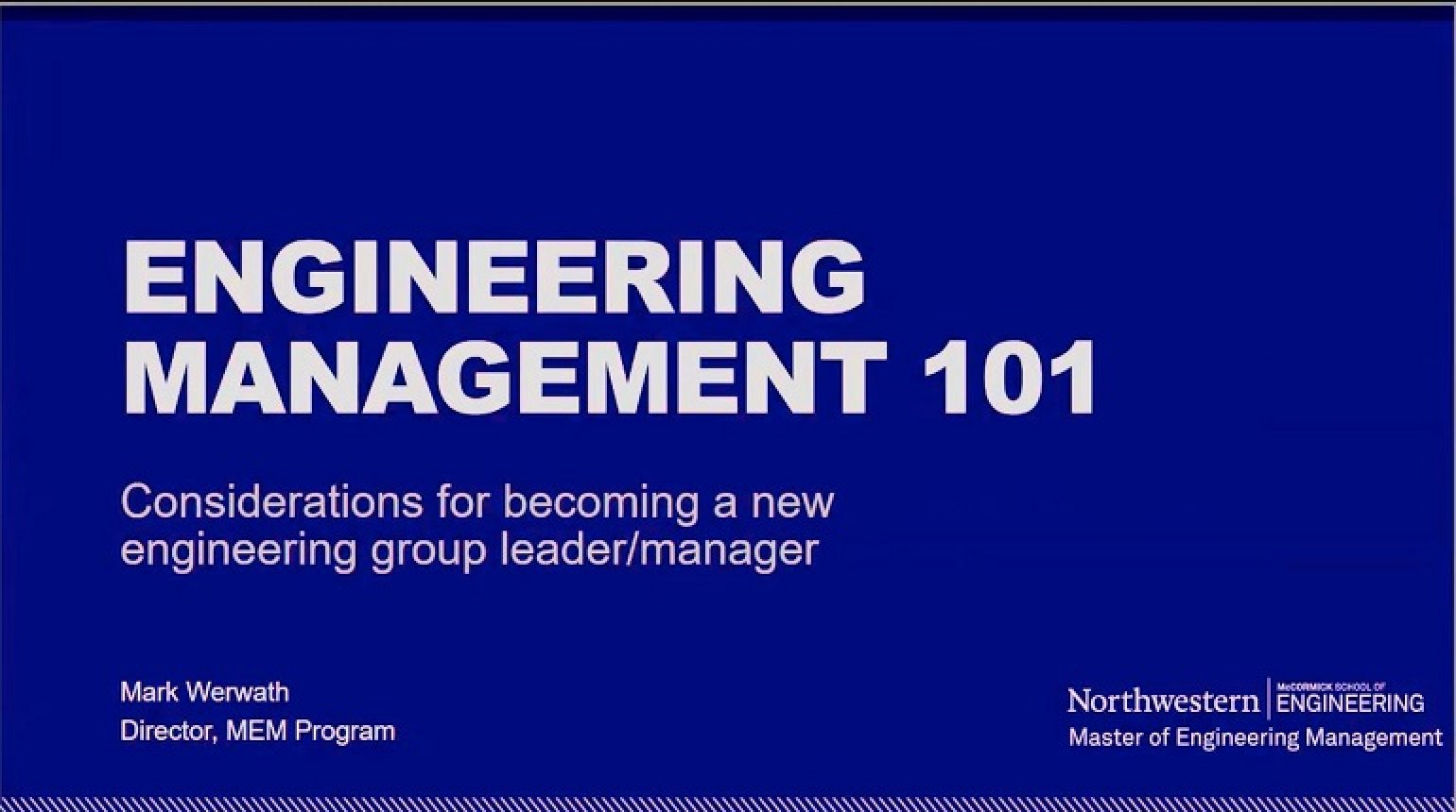 Engineering Management 101 Video