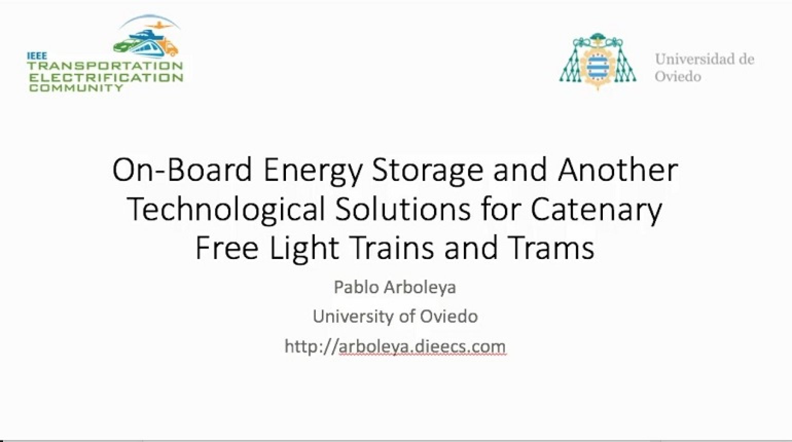 Video - On-Board Energy Storage and Another Technological Solutions for Catenary Free Light Trains and Trams