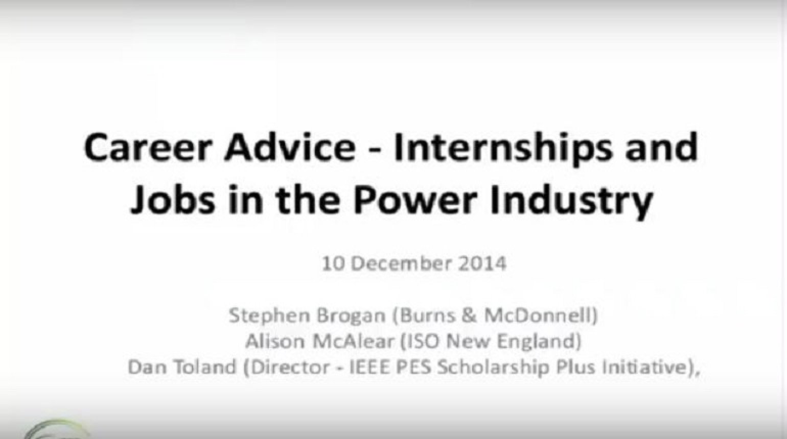 Career Advice - Internships and Jobs in the Power Industry