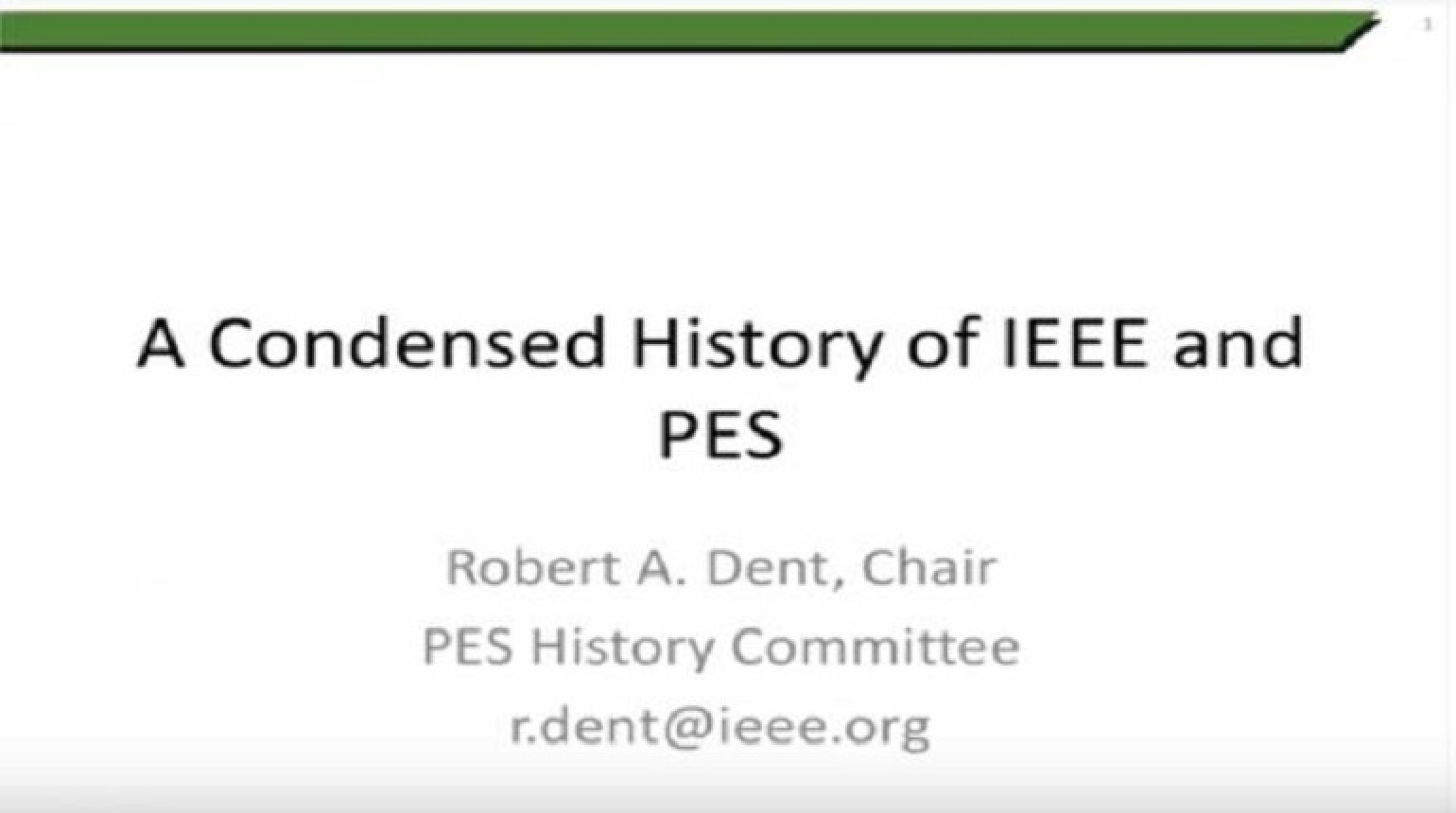 A Condensed History of IEEE and PES