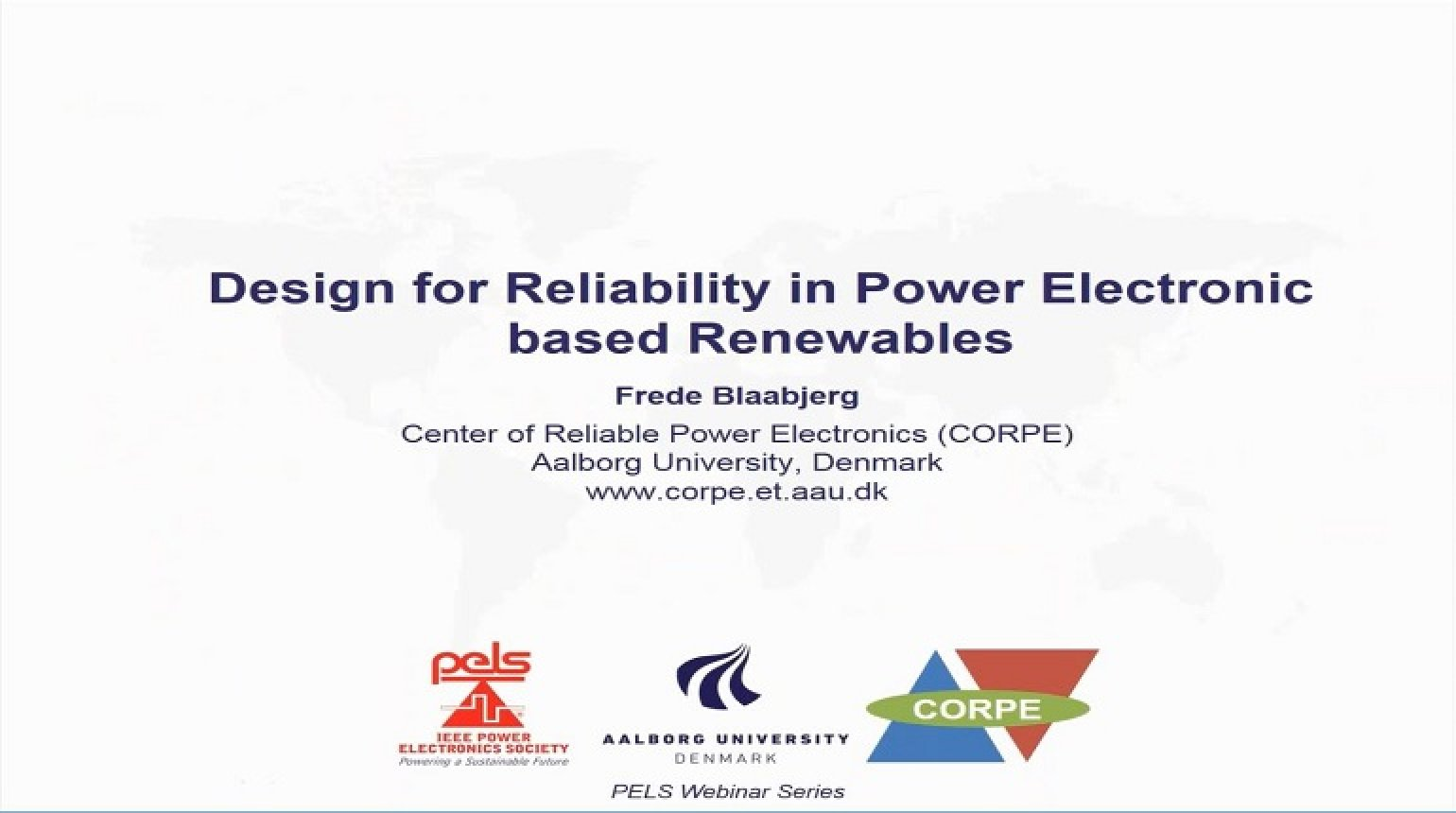Design for reliability in power electronic based renewables Video