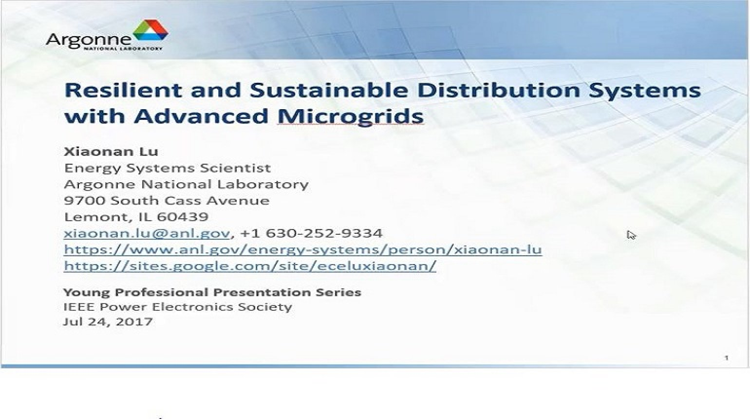 YP Webinar: Resilient and Sustainable Distribution Systems with Advanced Microgrids Video