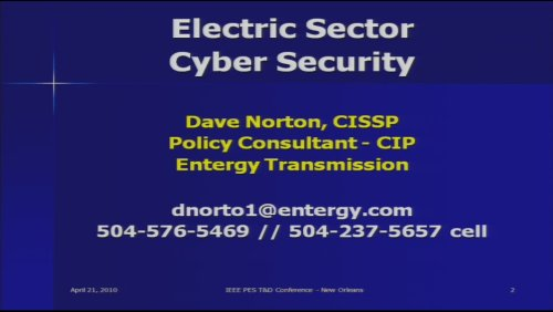 Electric Sector Cyber Security (Video)
