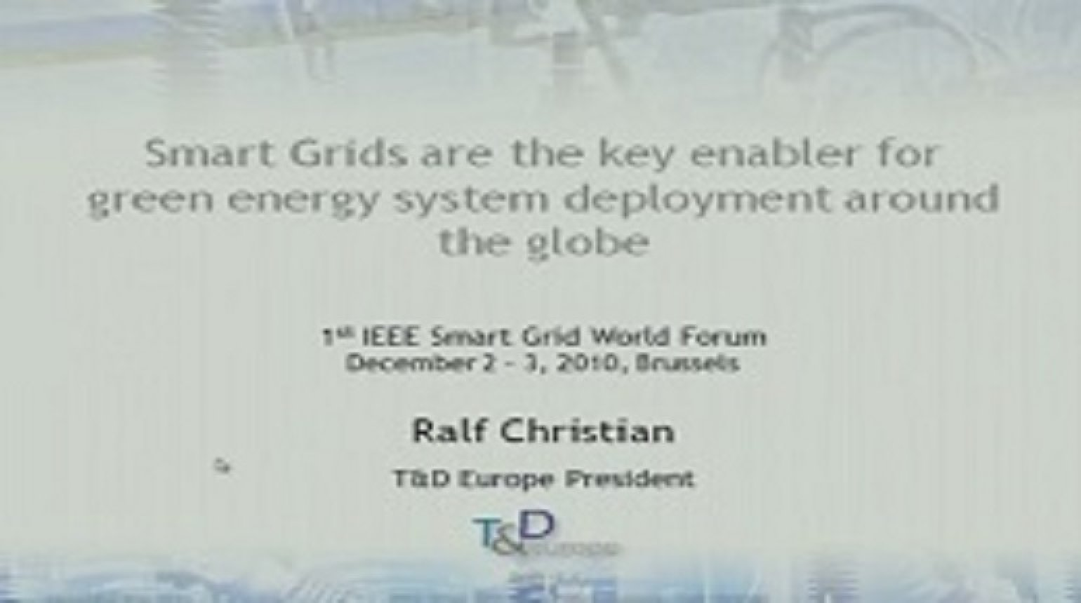 IEEE Smart Grid World Forum - Ralf Christian