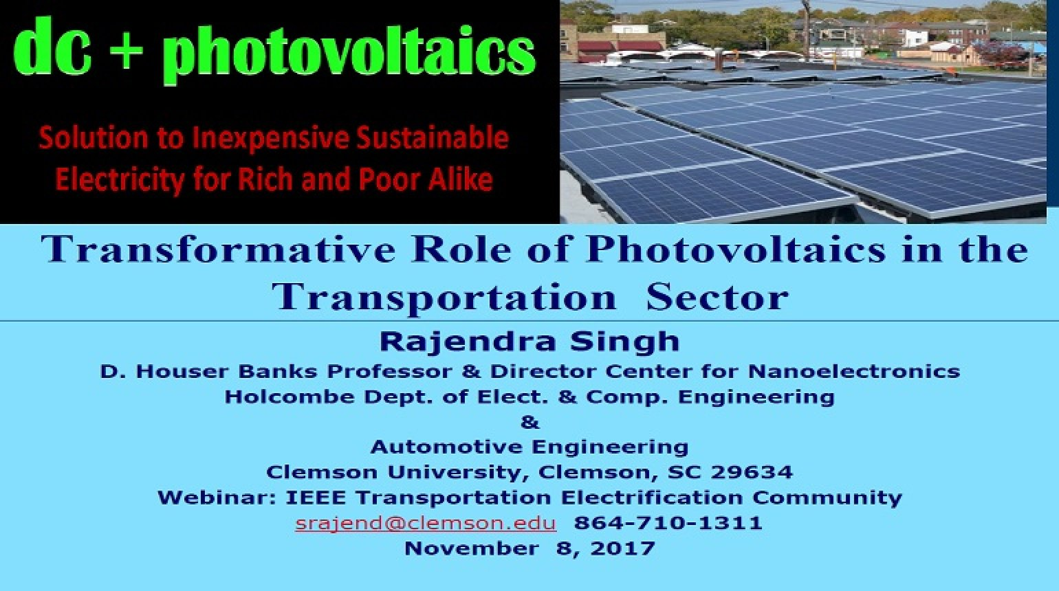 Video - Transformative Role of Photovoltaics in the Transportation Sector