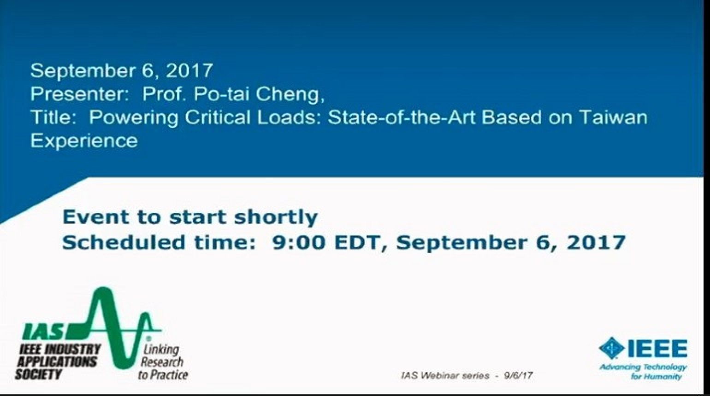 IAS Webinar Series - Powering Critical Loads