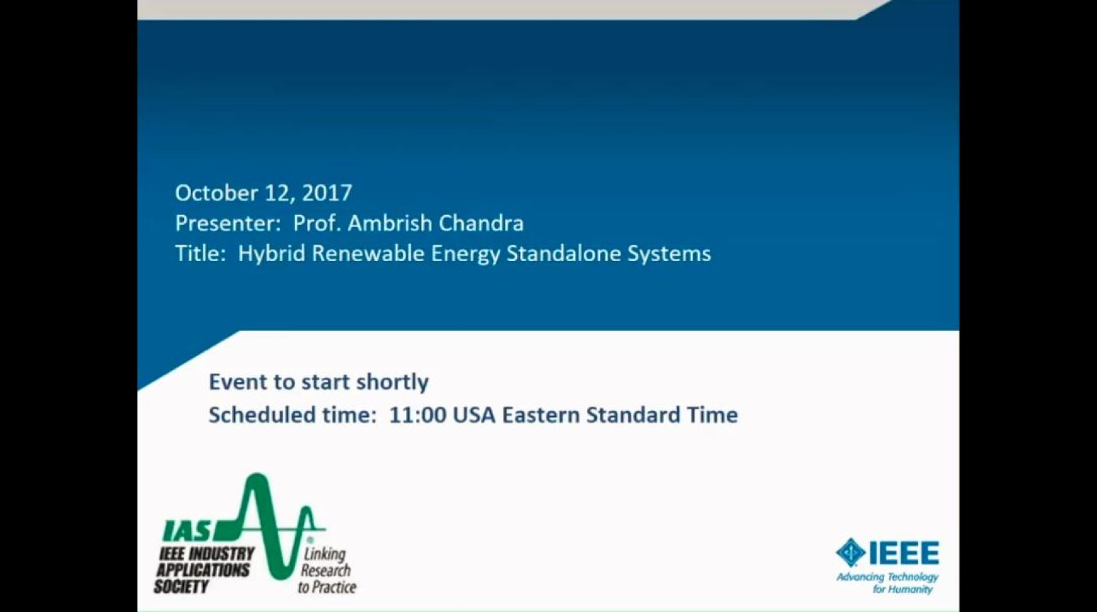 IAS Webinar Series -Hybrid Renewable Energy Standalone Systems