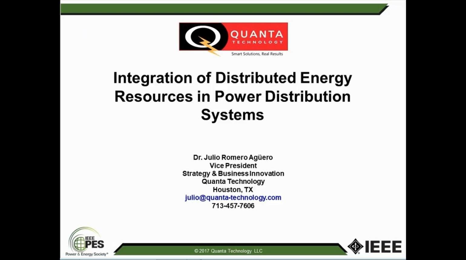 Integration of Distributed Energy Resources in Power Distribution Systems