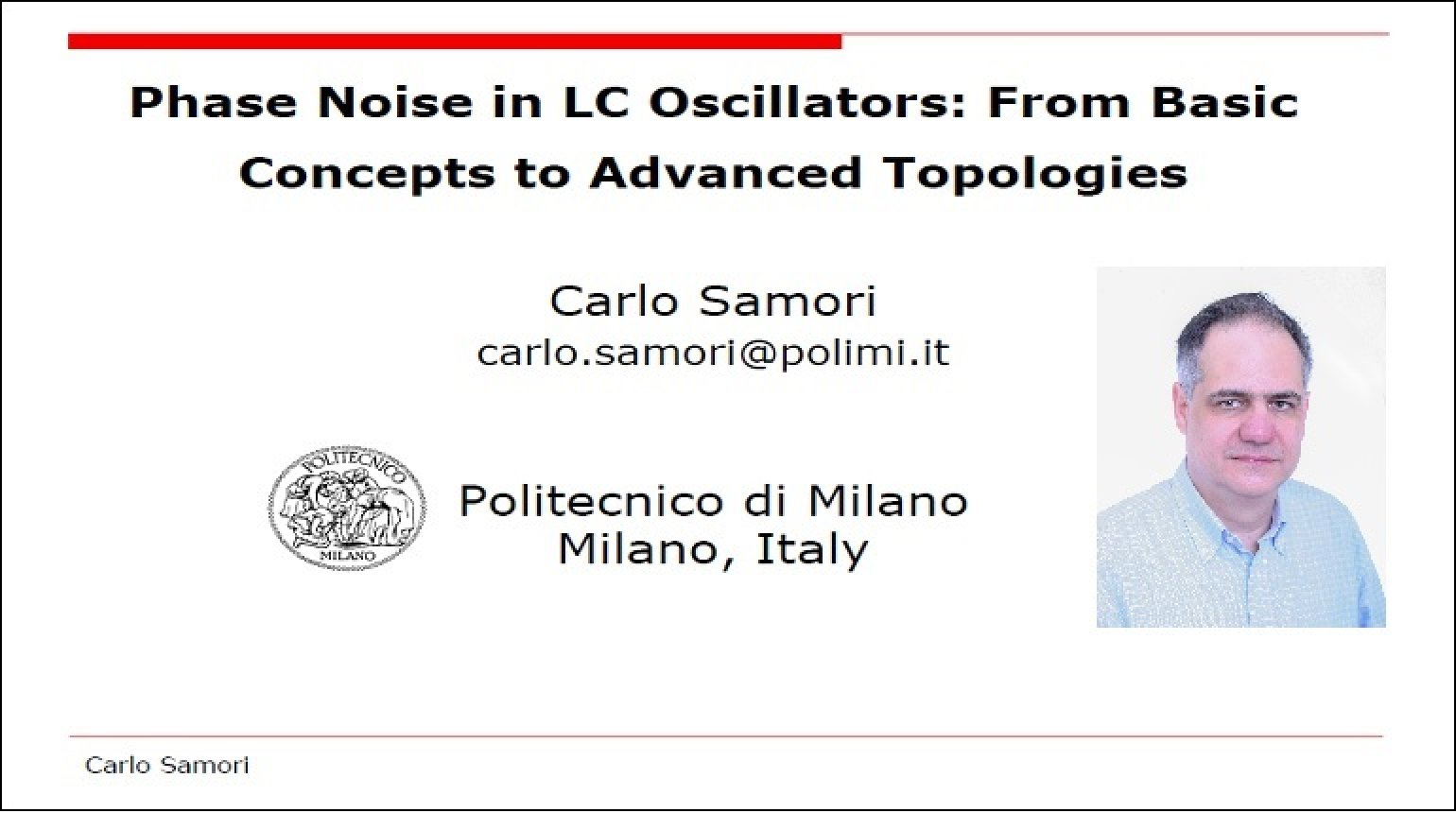 Phase Noise in LC Oscillators: From Basic Concepts to Advanced Topologies Video