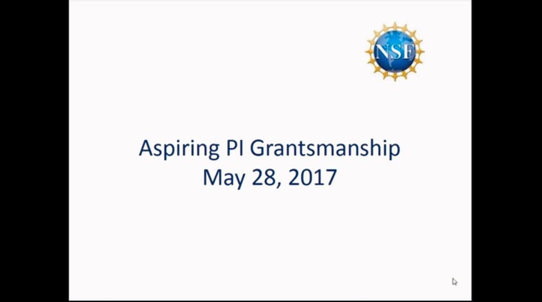 Aspiring PI Grantsmanship