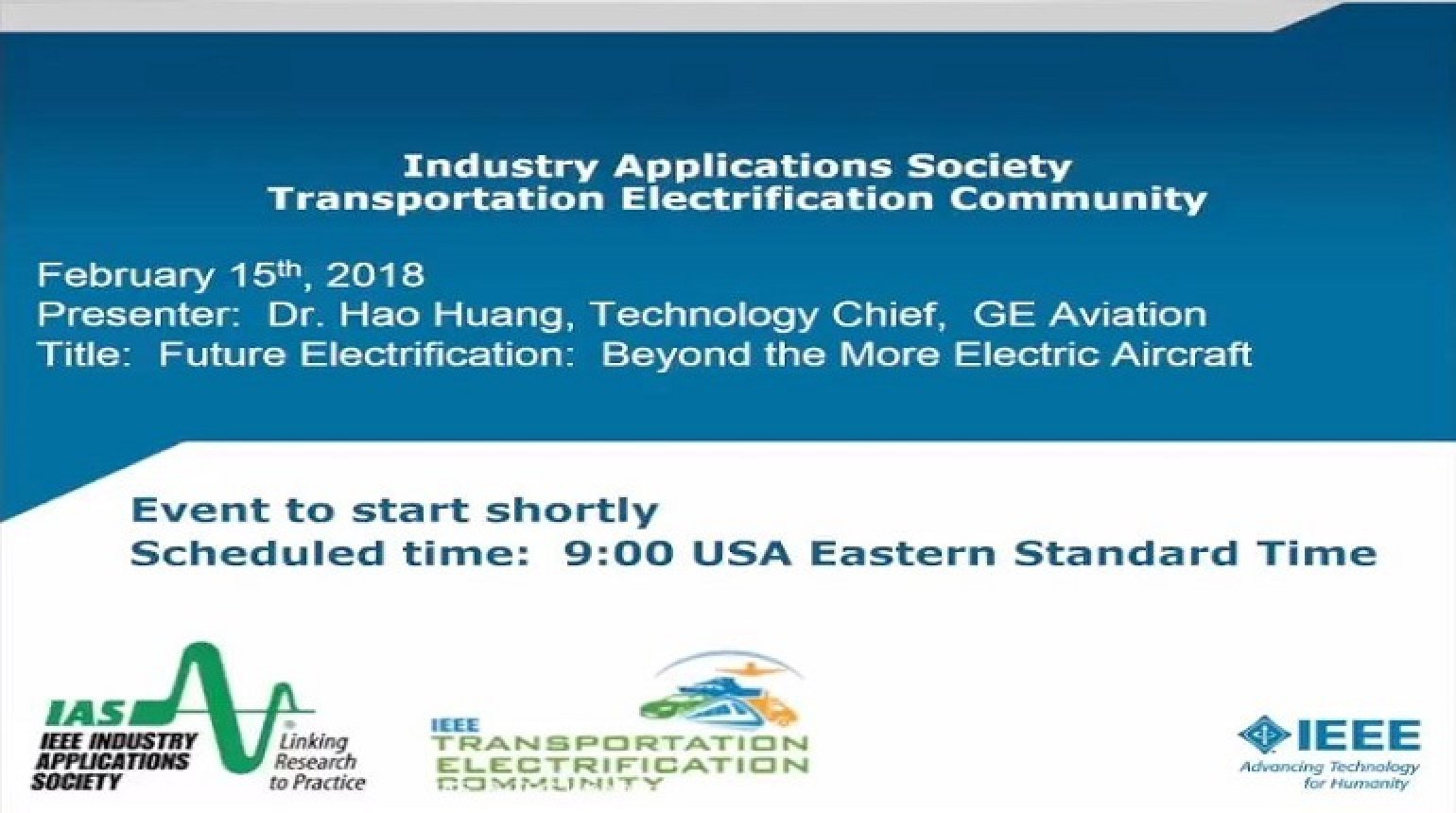 IAS Webinar Series - Future Electrification beyond the More Electric Aircraft