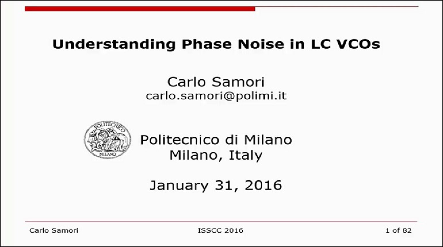 Understanding Phase Noise in LC VCOs Video
