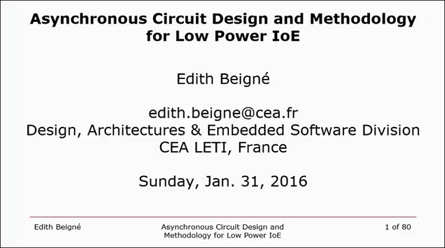 Asynchronous Circuit Design and Methodology for Low Power IoE Video
