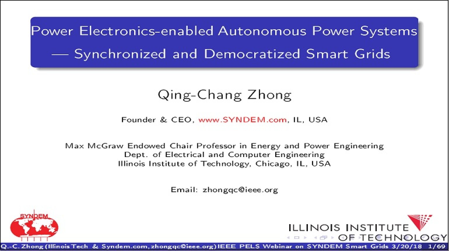Power Electronics-Enabled Autonomous Power Systems - Synchronized and Democratized (SYNDEM) Smart Grids Video