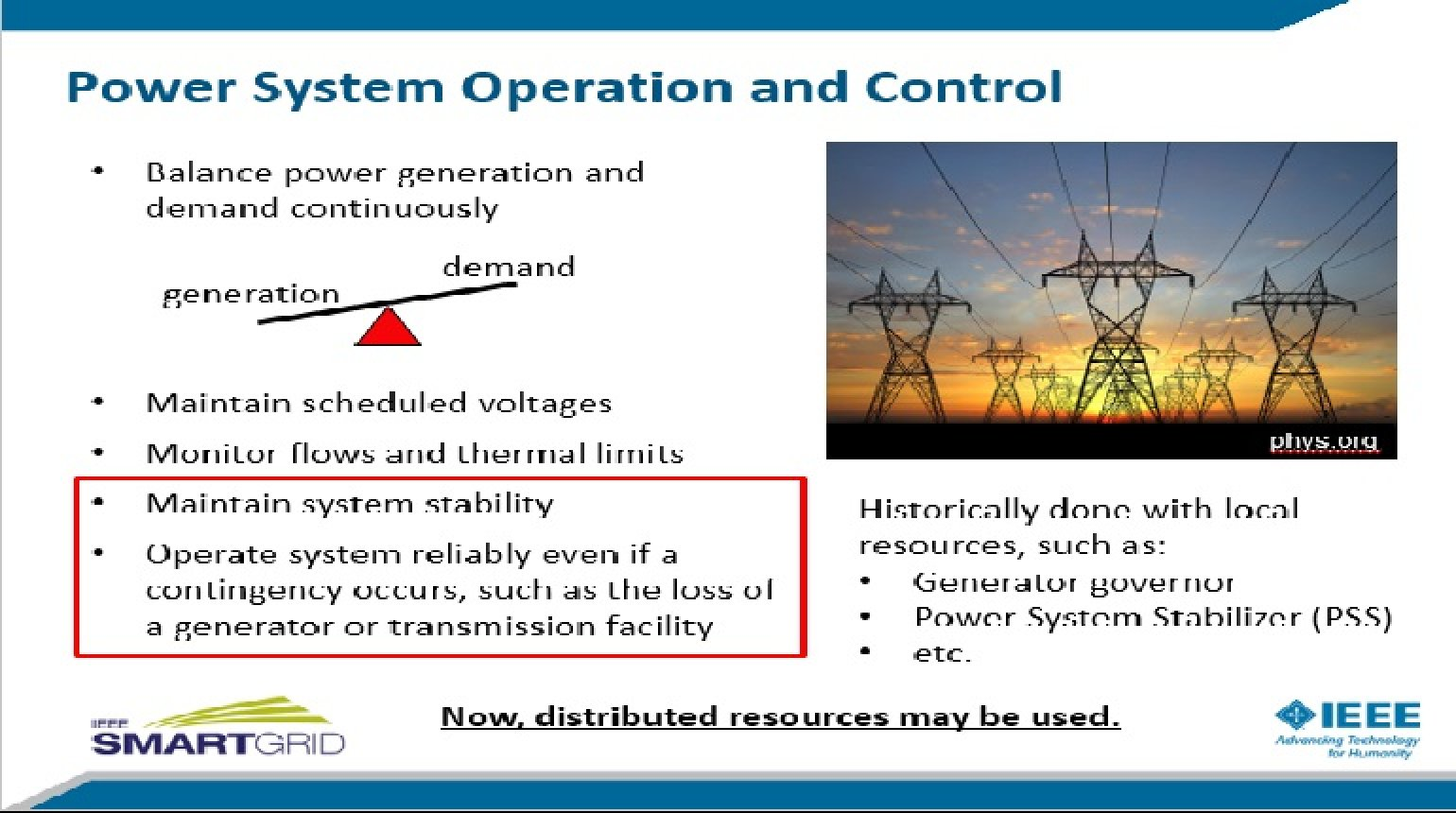 Distributed Control for Improving Power System Stability presented by David Copp