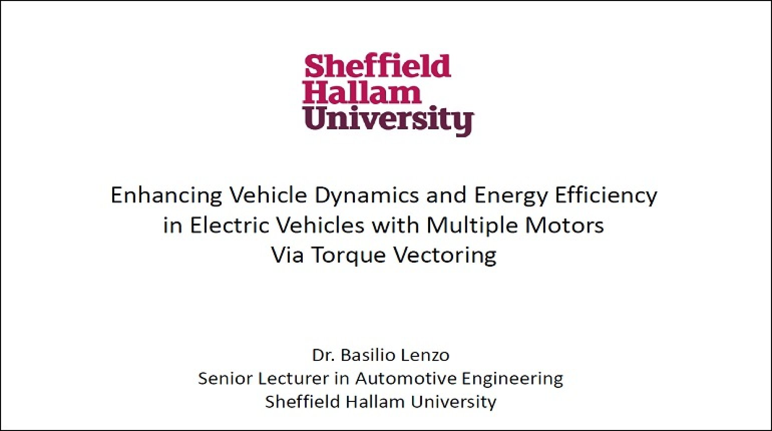 Video - Enhancing Vehicle Dynamics and Energy Efficiency in Electric Vehicles with Multiple Motors Via Torque Vectoring