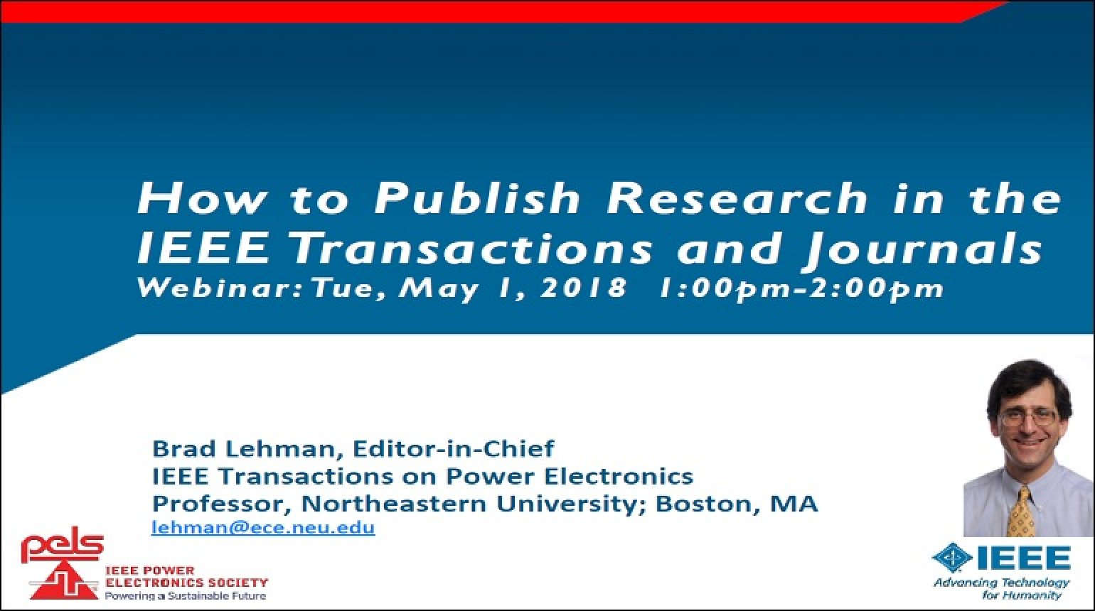 How to publish research in the IEEE Transactions and Journals Video