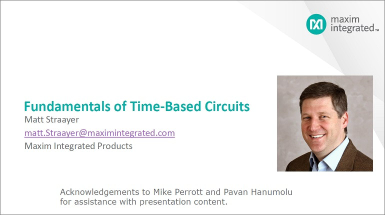 Time-Based Circuits - not just the Single Slope! Video