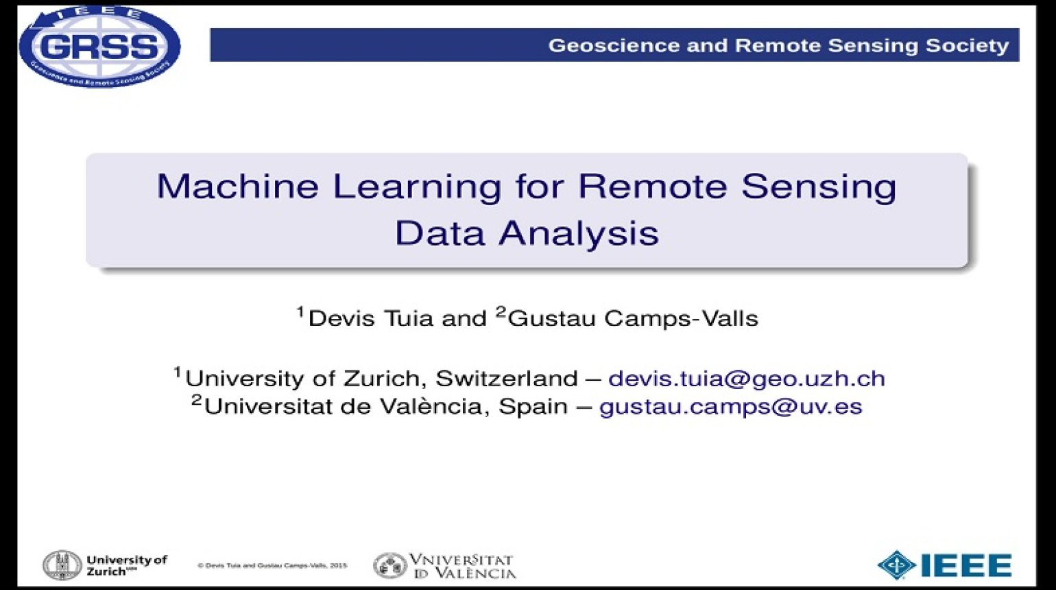 Machine Learning for Remote Sensing Data Analysis