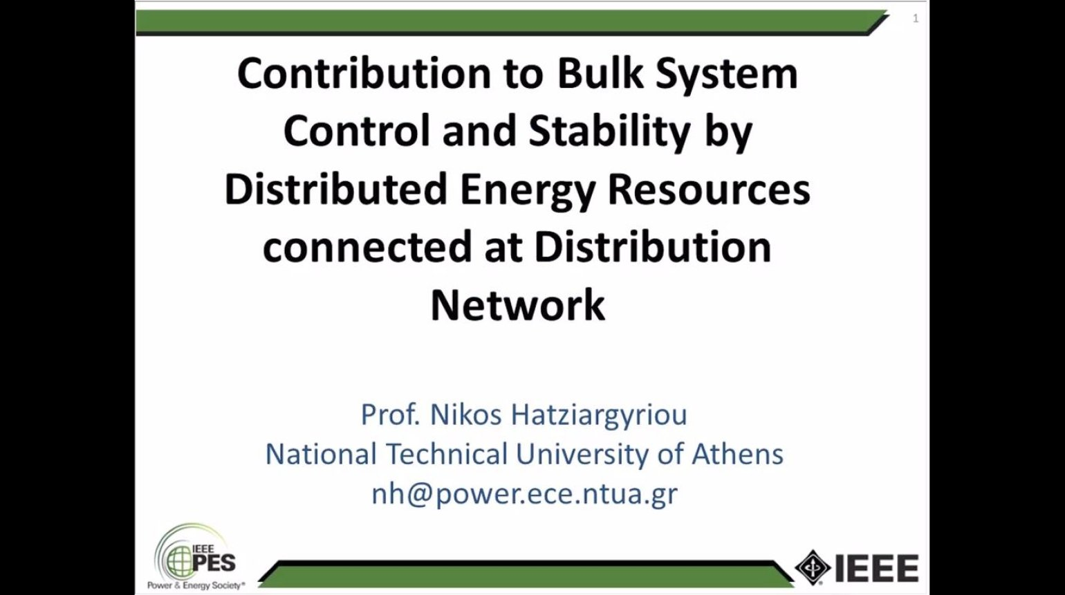 Contribution to Bulk System Control and Stability by DER Connected at Distribution Network