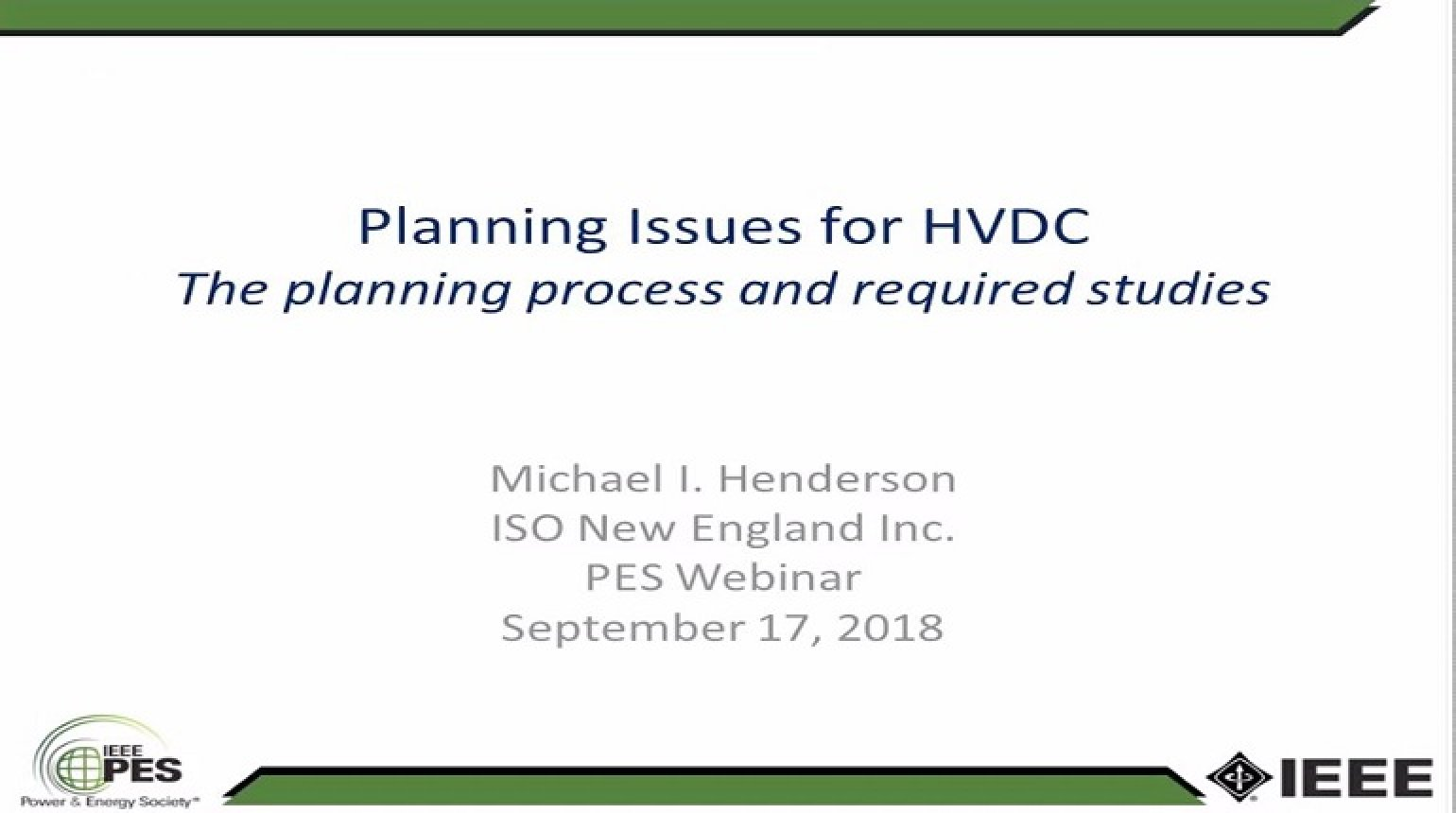 Planning Issues for HVDC