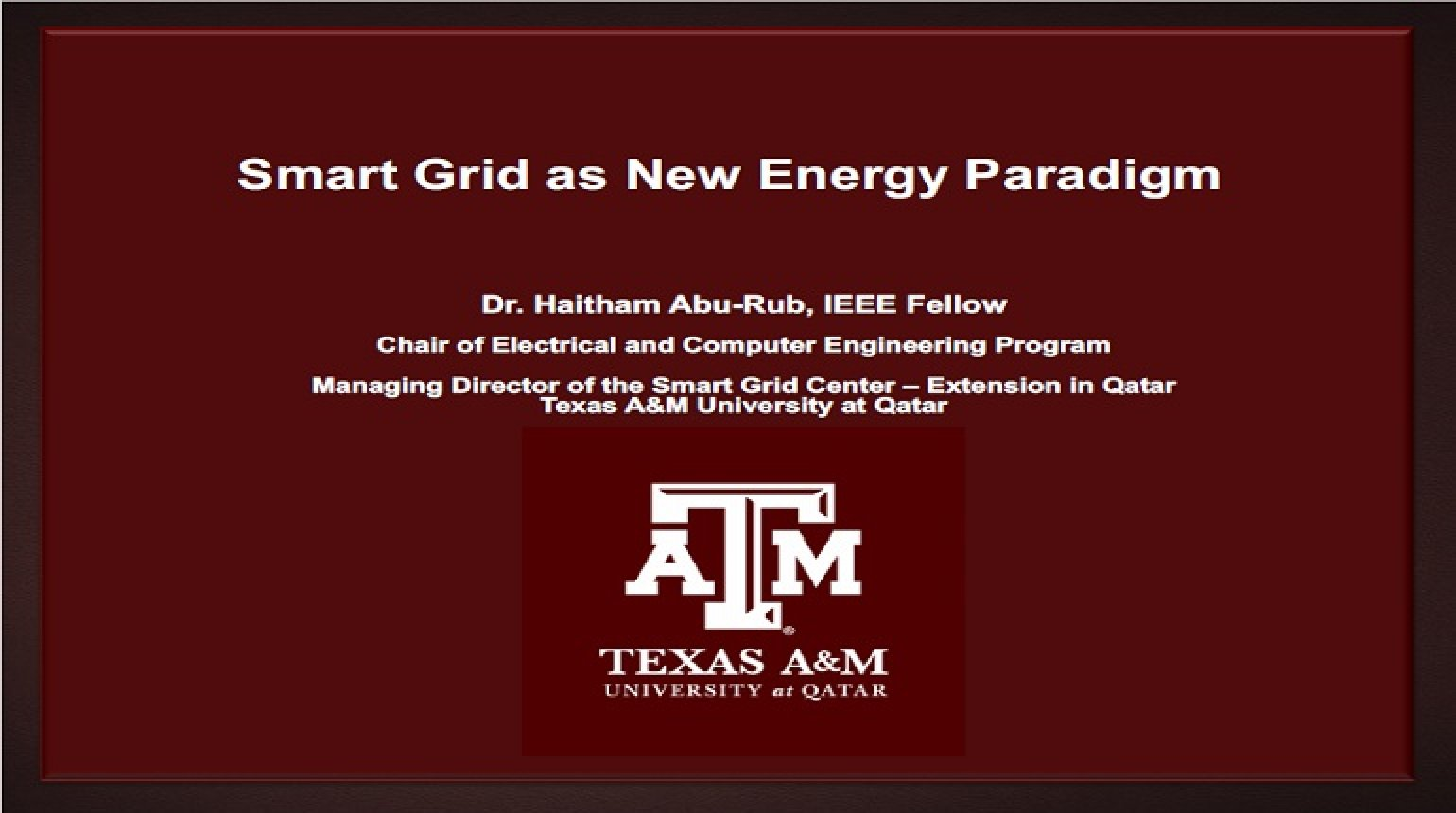 Smart Grid as New Energy Paradigm Video