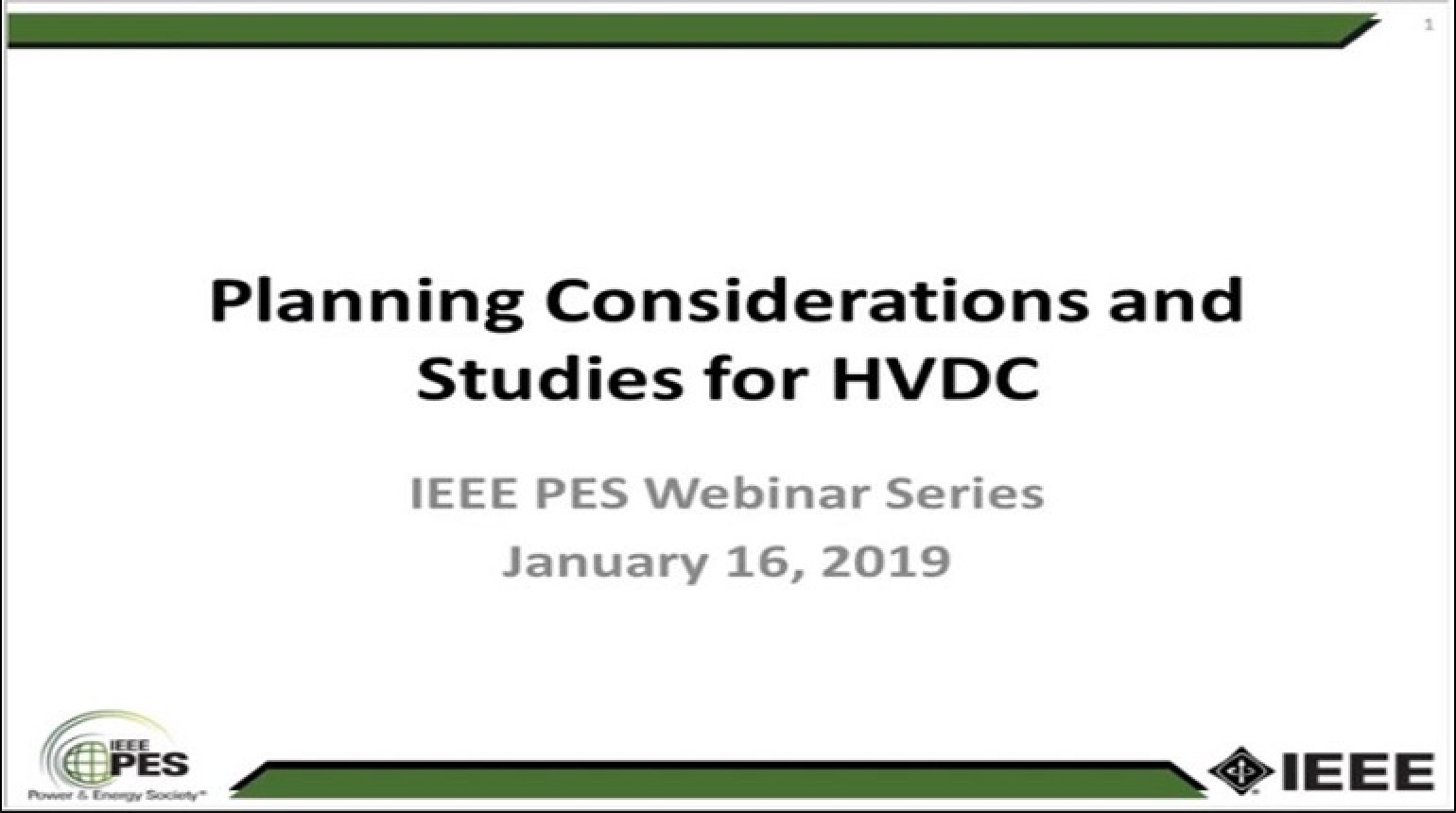 Planning Studies for HVDC Systems