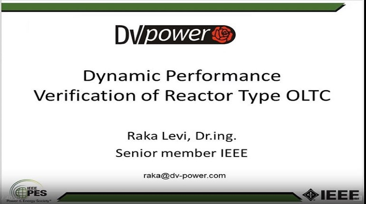 Dynamic Performance Verification of Reactor Type OLTC