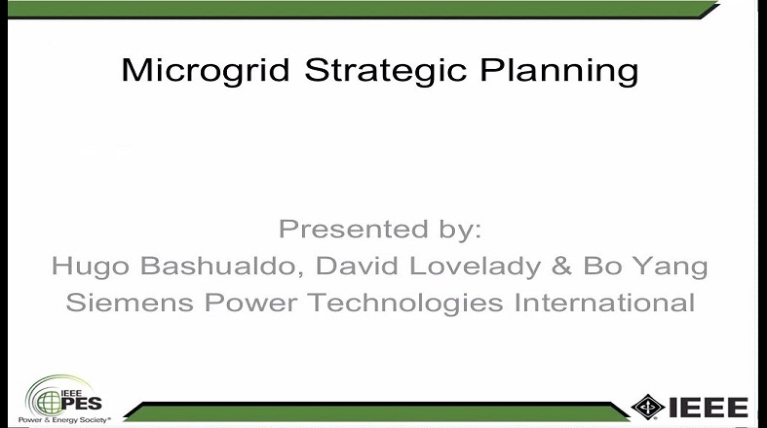 Strategic Planning for Microgrids - Strategies and Tools