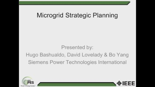 Microgrid Strategic Planning (Webinar)