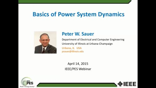 Basics of Power System Dynamics (Webinar)
