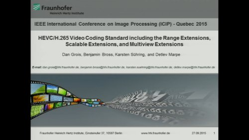 HEVC/H.265 Video Coding Standard including the Range Extensions, Scalable Extensions, and Multiview Extensions. Part I