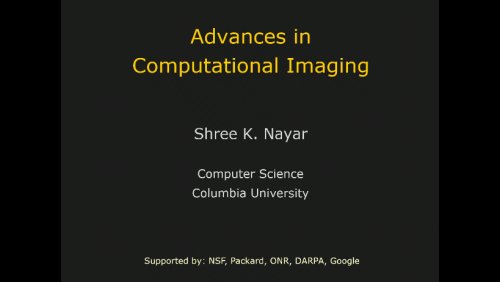 Advances in Computational Imaging