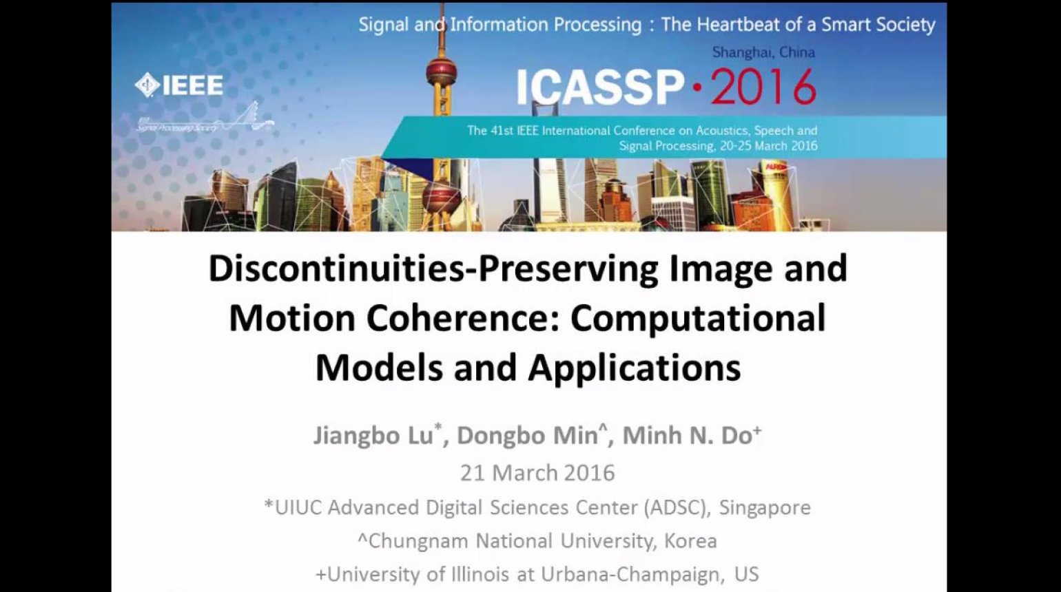ICASSP 2016 Discontinuities Preserving Image Motion Coherence: Computational Models and Applications
