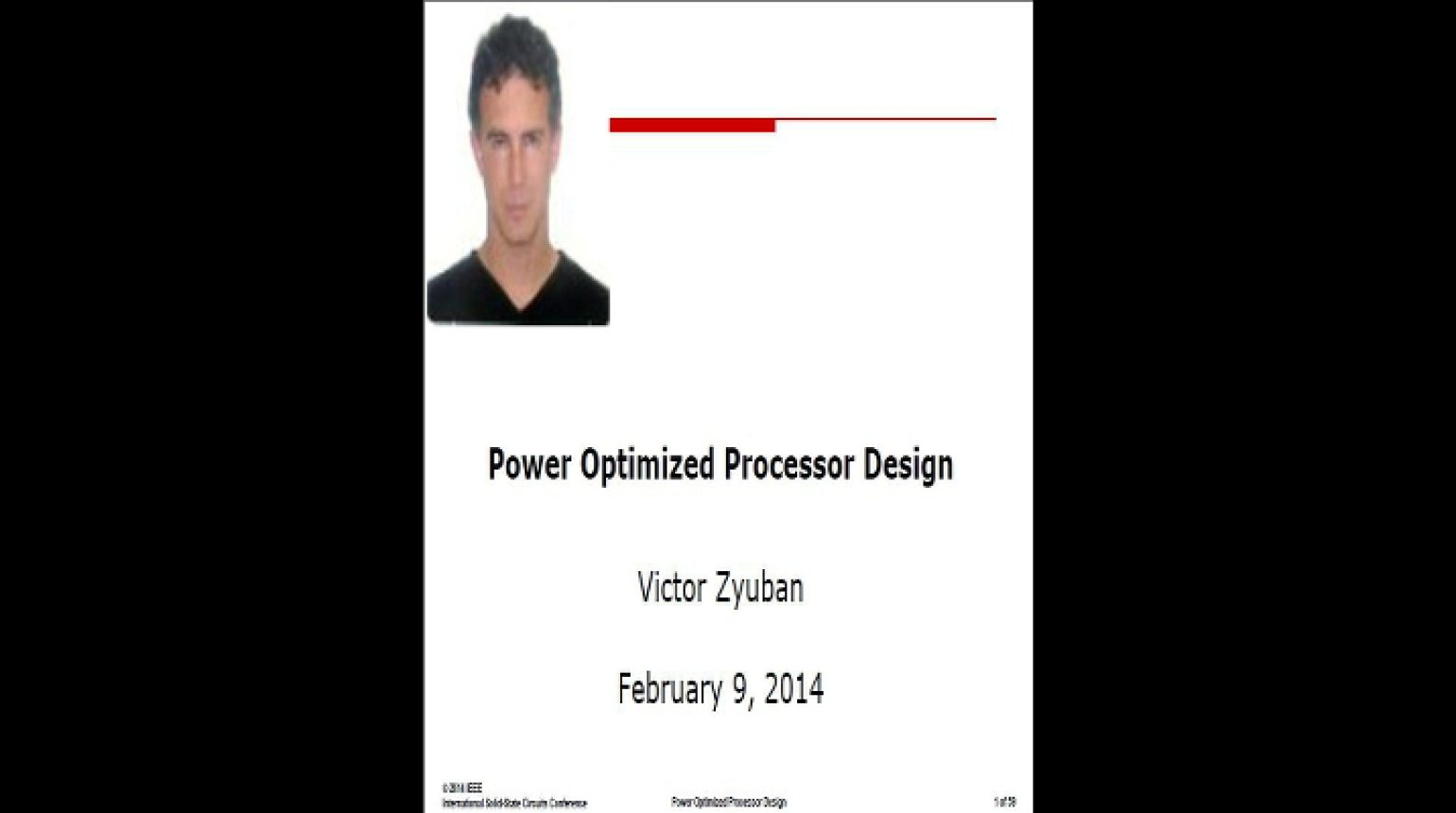 Power Optimized Processor Design Video