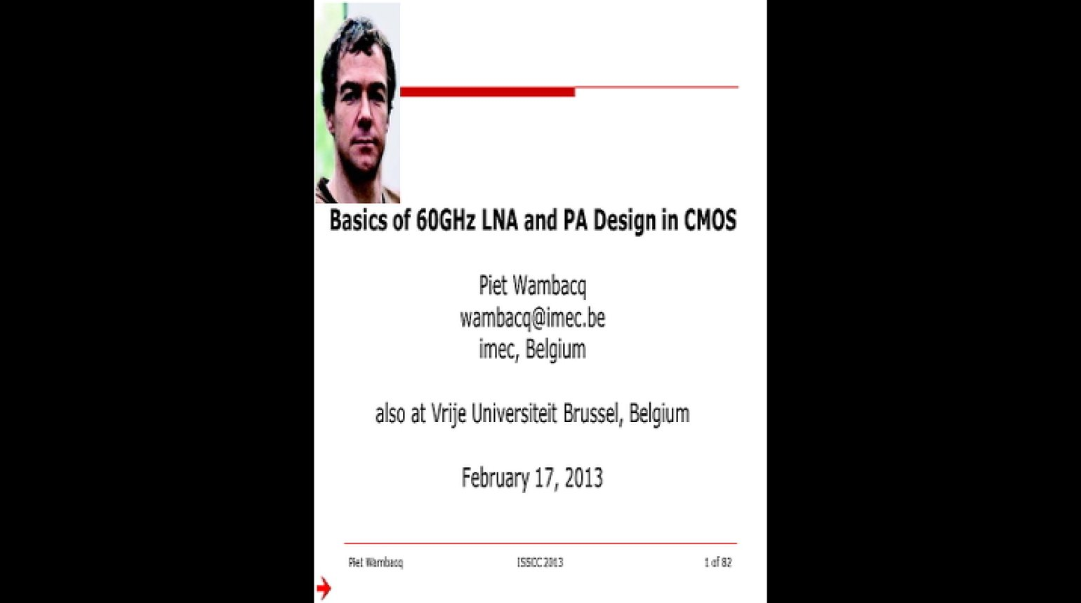Basics of 60 GHz LNA and PA Design in CMOS Video