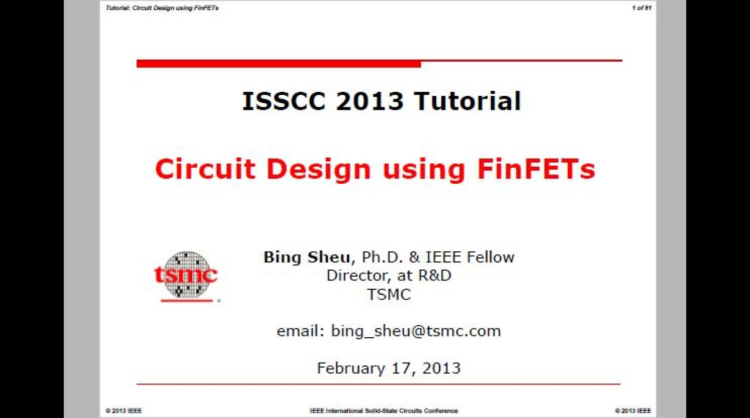 Circuit Design using FinFETs Video