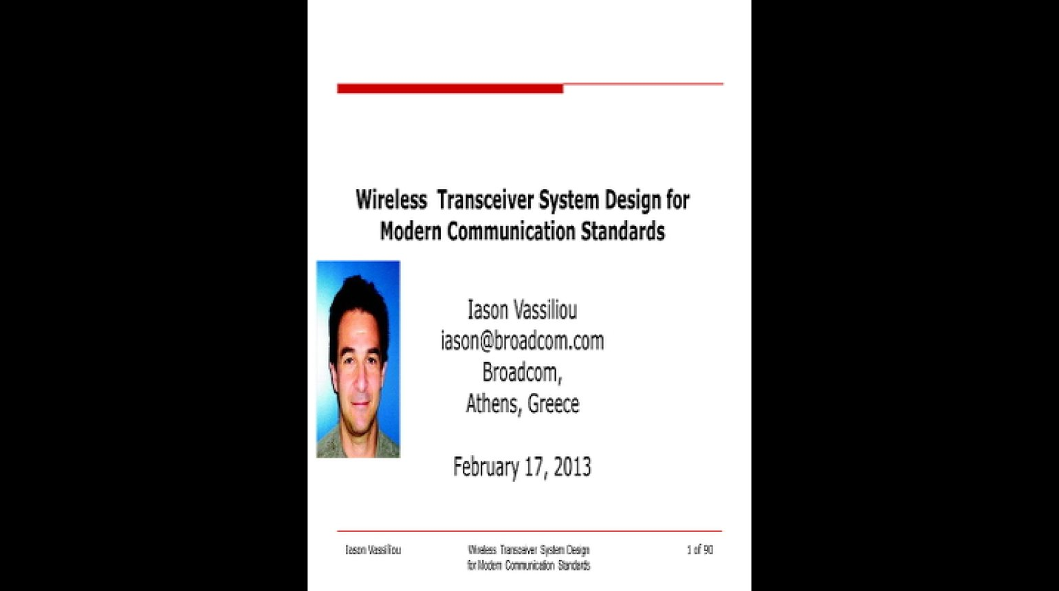 Wireless Transceiver System Design for Modern Communication Standards Video