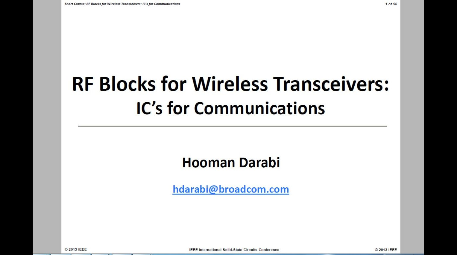 RF Blocks for Wireless Transceivers: ICs for Communications Video