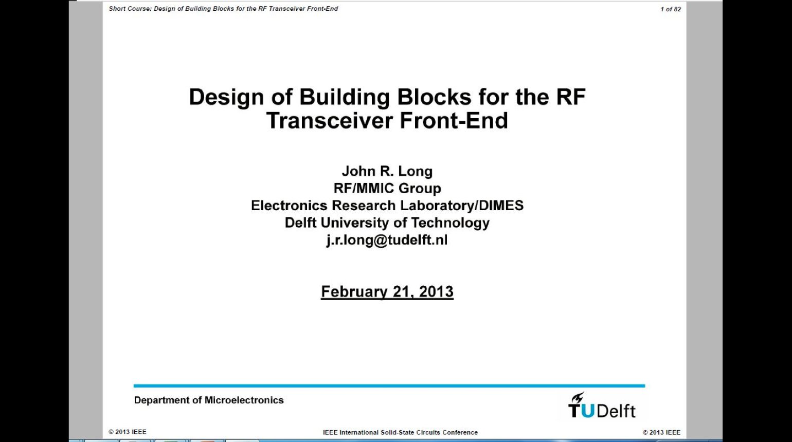 Design of Building Blocks for the RF Transceiver Front End Video