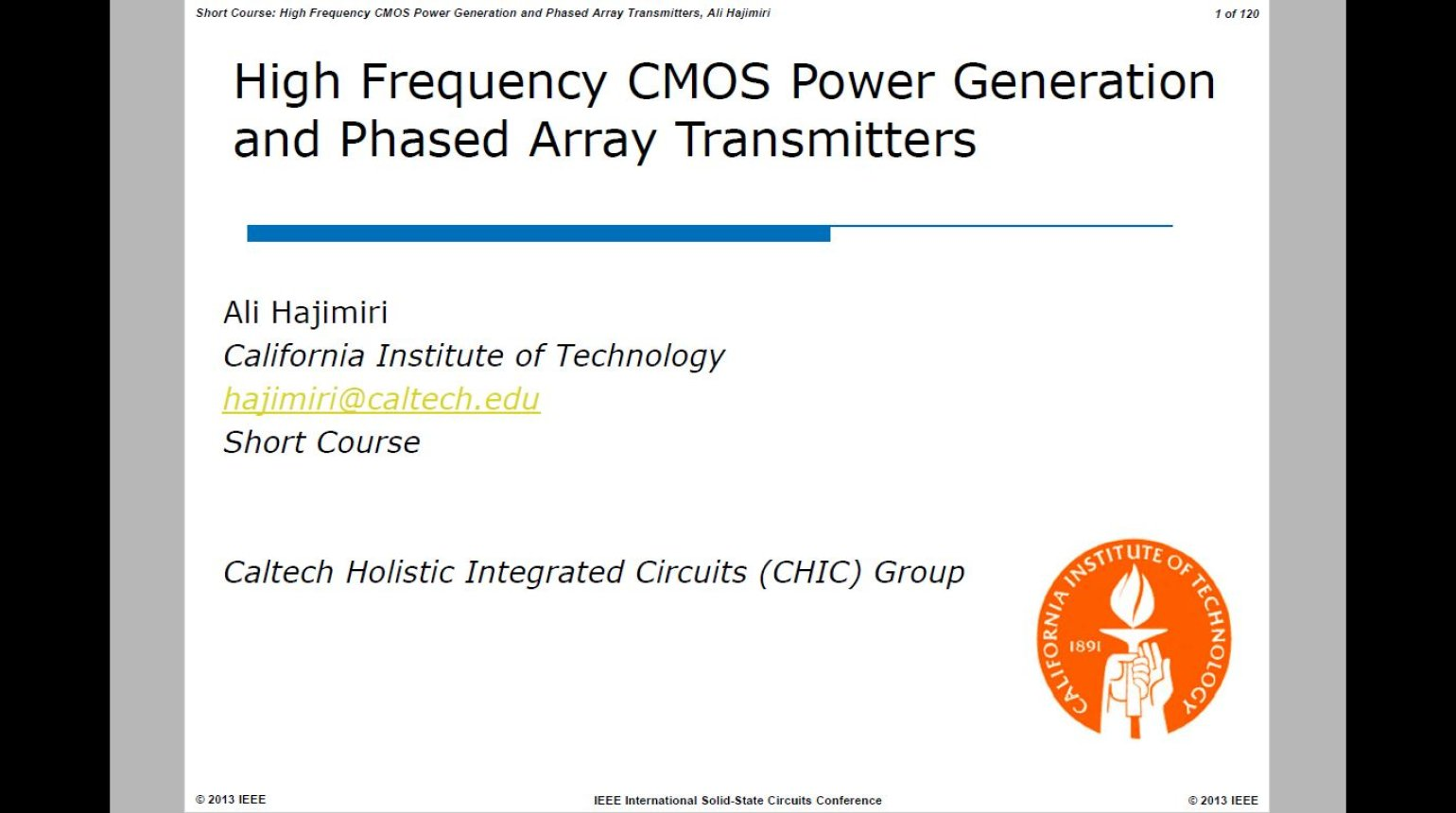 High Frequency CMOS Power Generation and Phased Array Transmitters Video