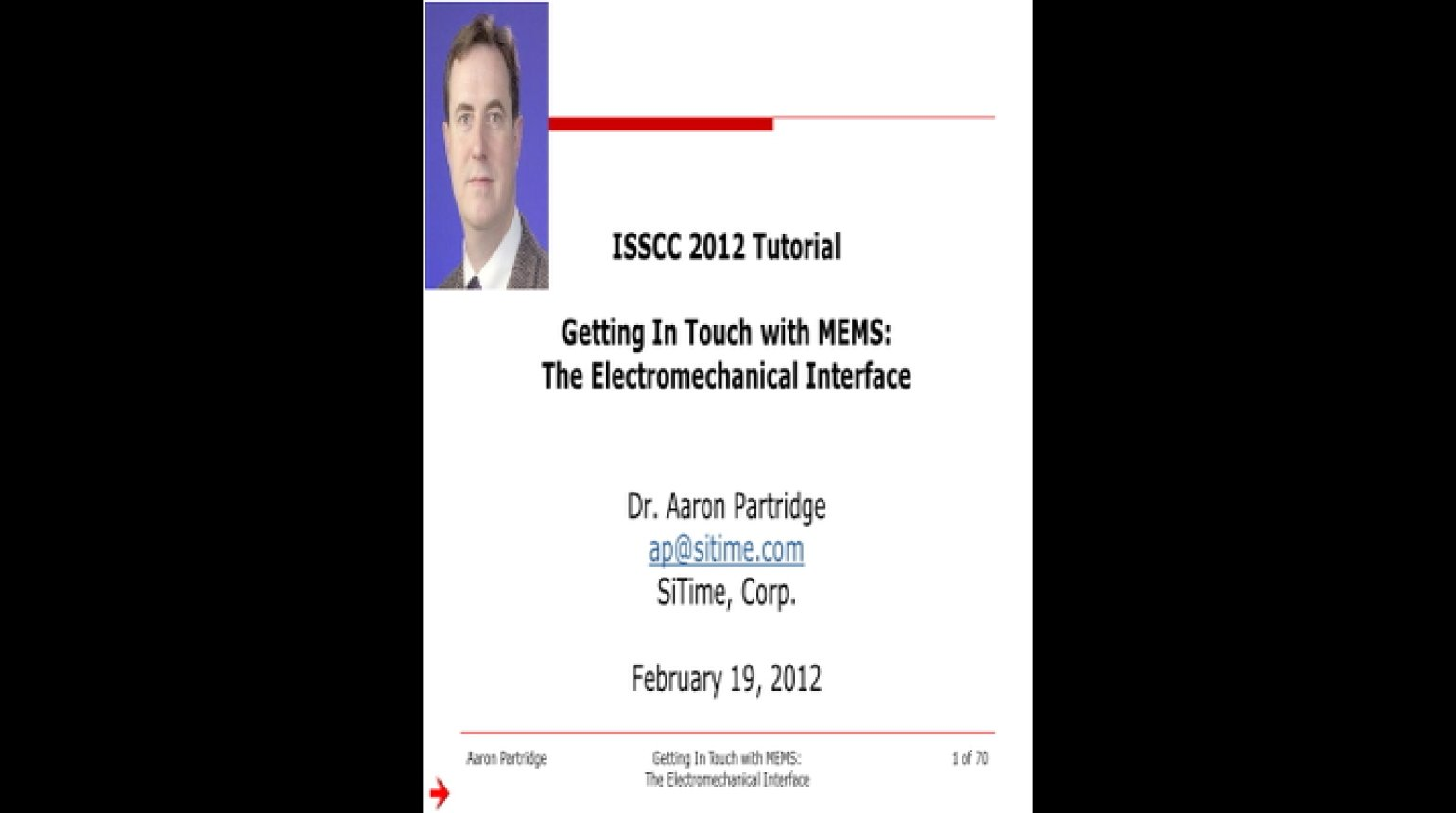 Getting In Touch with MEMS: The Electromechanical Interface Video