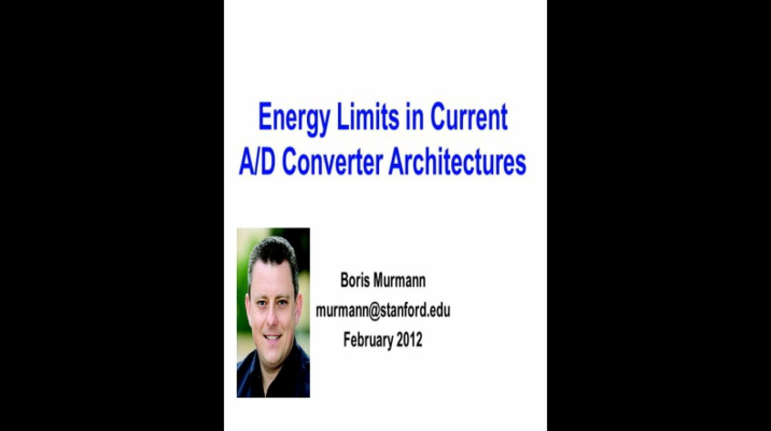 Energy Limits in Current AD Converter Architectures Video