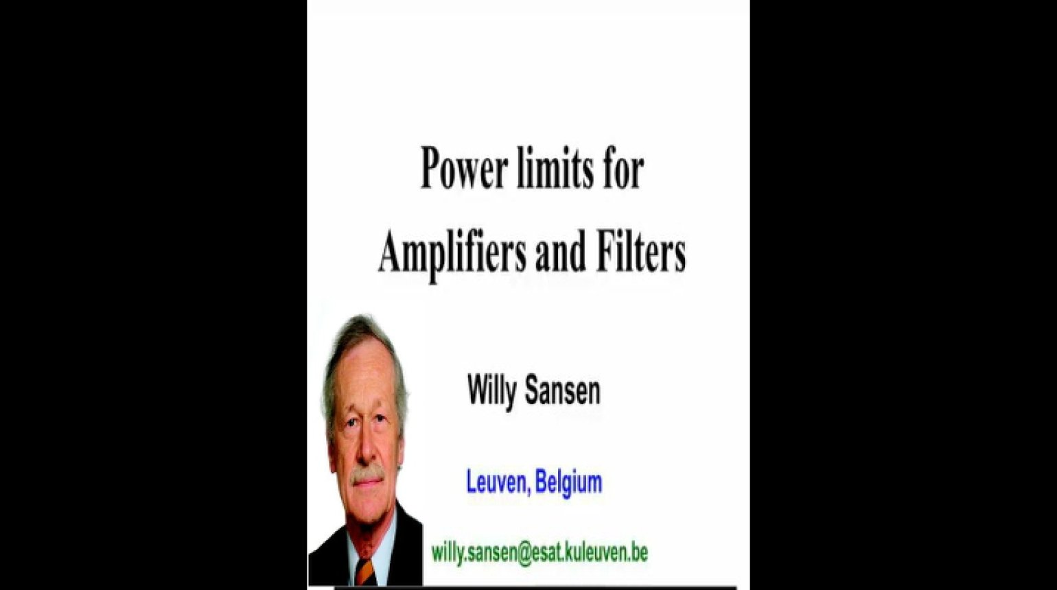 Power Limits for Amplifiers and Filters Video