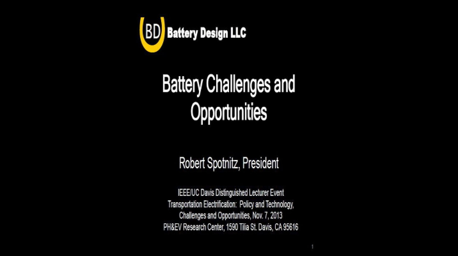 Video - Battery Challenges and Opportunities